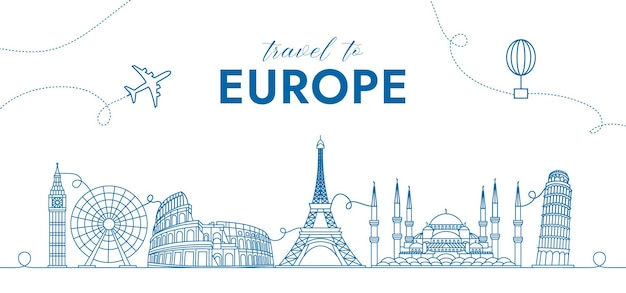Travel background concept with europe monuments for advertising banner and much more