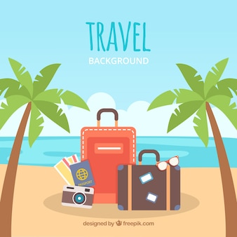 Travel background in flat style