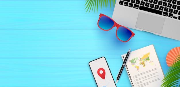 テキストイラストの旅行の背景旅行時間。夏休み。旅行のシンボル、オブジェクト、アクセサリー、サングラス、地図、機器 Premiumベクター