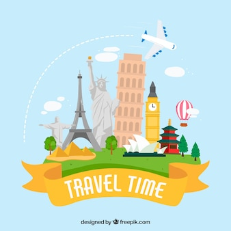 Travel background in hand drawn style