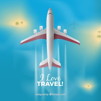 Travel background in realistic style
