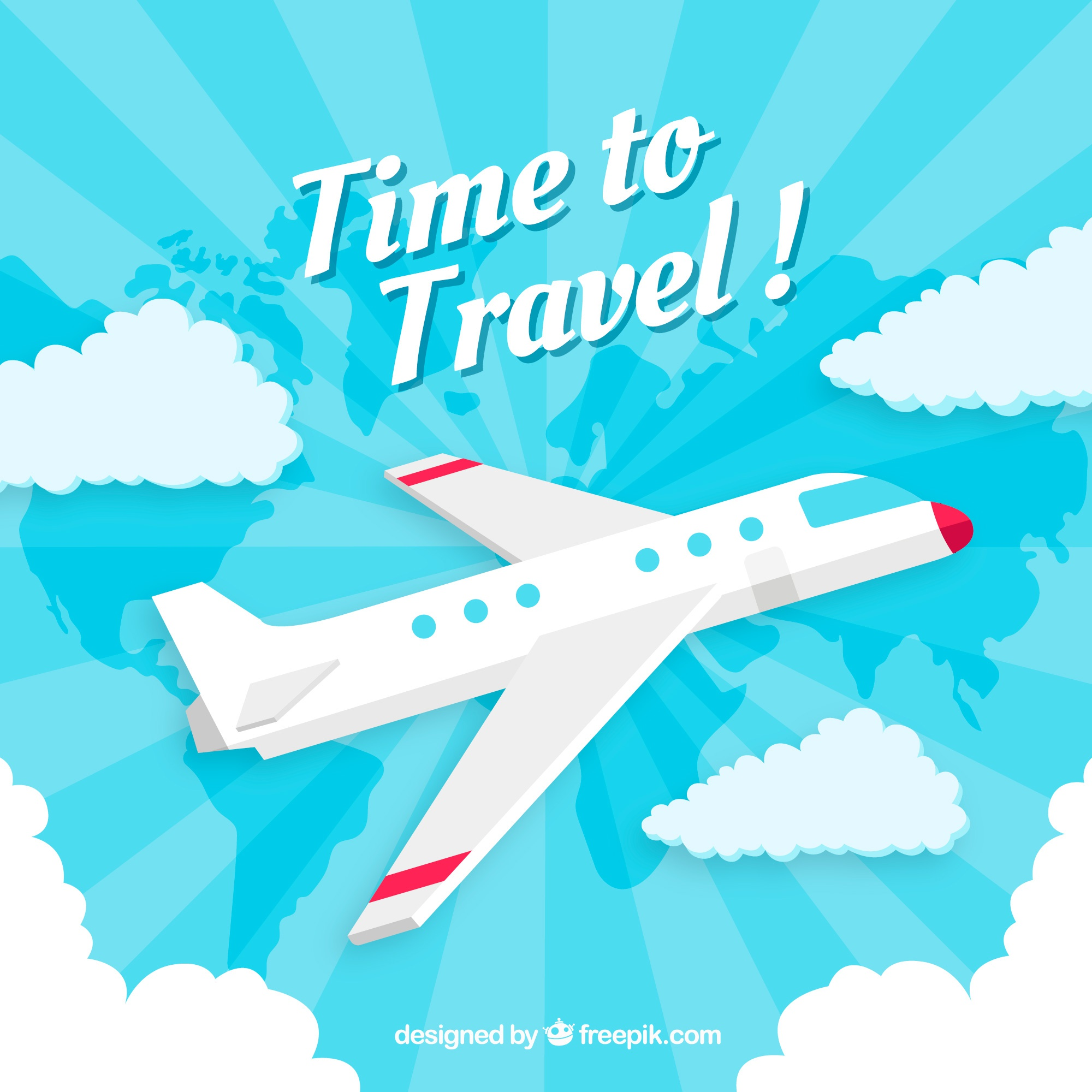 Travel background with airplane in flat style