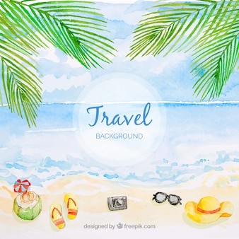 Travel background with beach in watercolor style