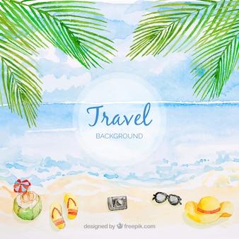 水彩スタイルのビーチで旅行の背景