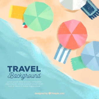 Travel background with beach top view