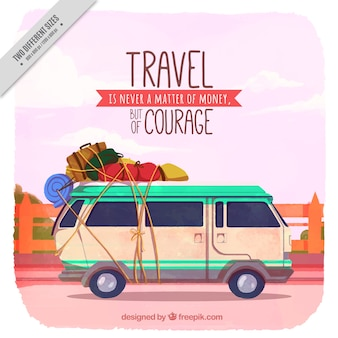 Travel background with caravan in vintage style