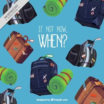 Sfondo di viaggio con le valigie decorative