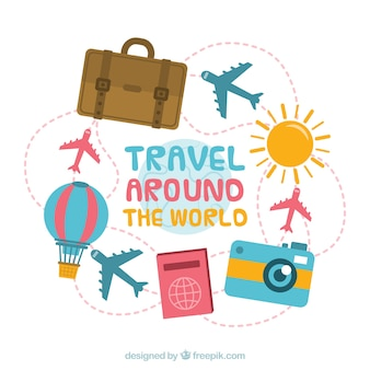 Travel background with different elements in flat style