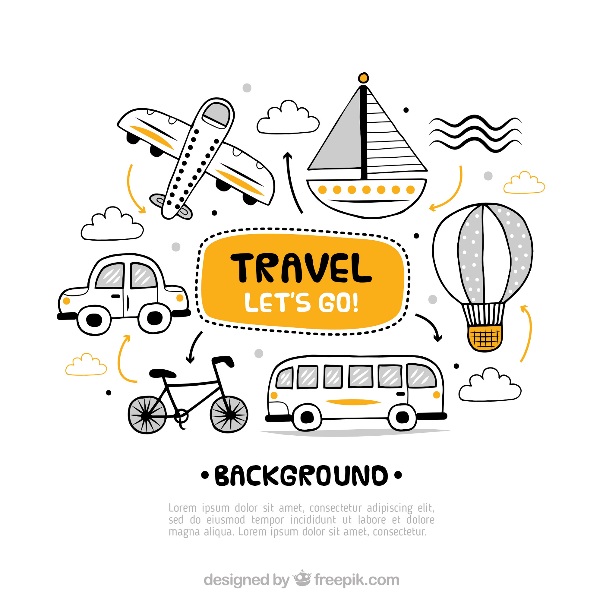 Travel background with different transports