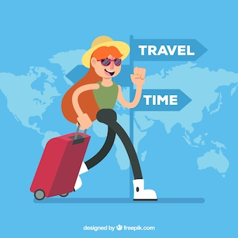 ダイナミックな女性と旅行の背景