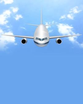 飛行機と白い雲が飛んでいる旅行の背景。