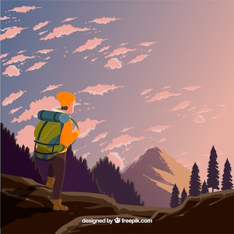 Travel background with hiker