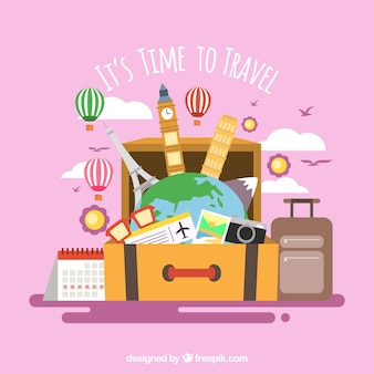 Fondo di viaggio con punti di riferimento in valigia