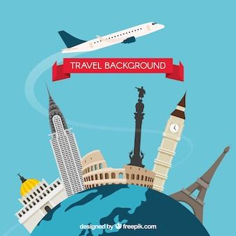 Travel background with landmarks