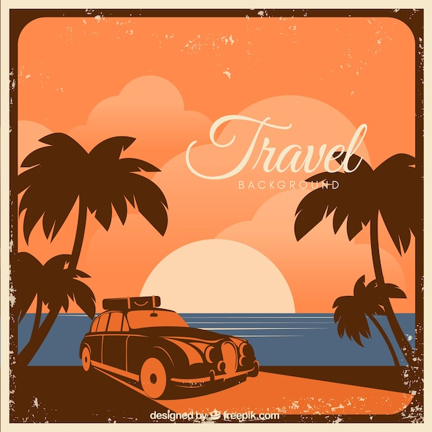 Travel Background With Landscape In Vintage Style