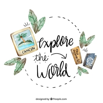 Travel background with lettering in watercolor style