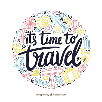 Travel background with lettering
