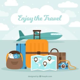 수하물과 비행기 여행 배경