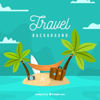 Travel background with luggage in flat style