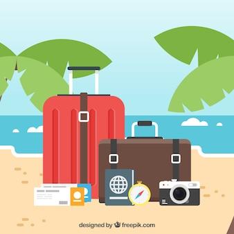 Путешествие с багажом в плоском стиле