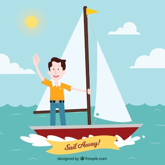 Travel background with man in sailing boat