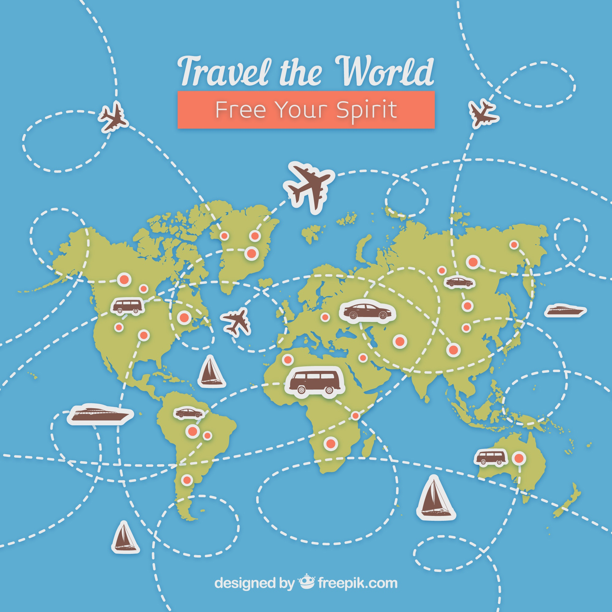 Travel background with map and landmarks
