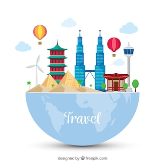 Travel background with monuments on half earth