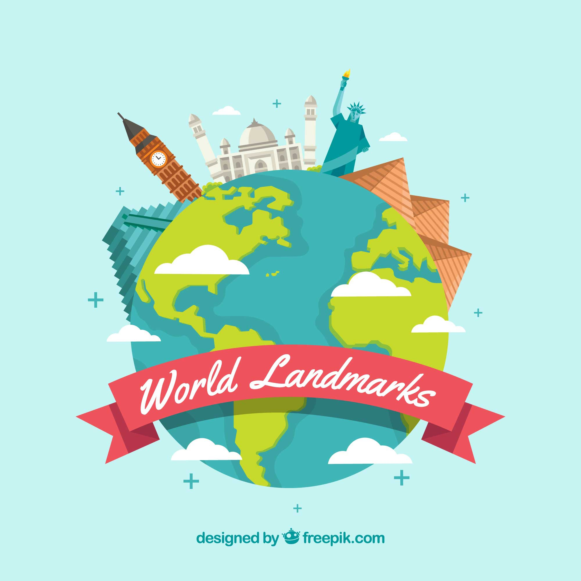 Travel background with monuments on globe