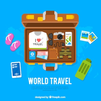 Travel background with open suitcase
