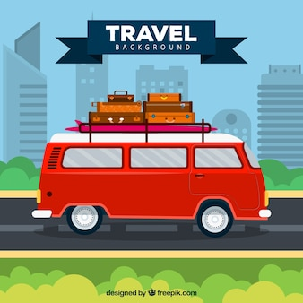 Travel background with retro van