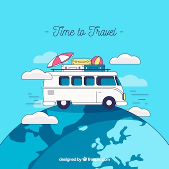 Travel background with van on earth