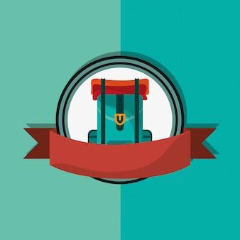 Travel backpack emblem image