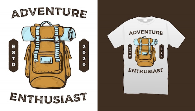 旅行バックパックイラストtシャツデザイン