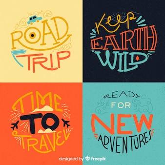 Travel badge collection calligraphic style