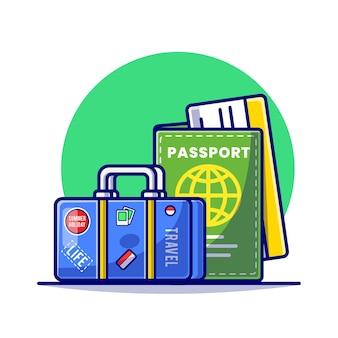 여행 가방 및 문서 여권 만화 평면 그림.