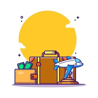 여행 가방 및 돈 만화 그림. 여행 아이콘 개념 흰색 절연입니다. 플랫 만화 스타일