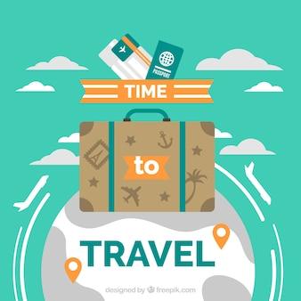 旅行バッグと世界の背景