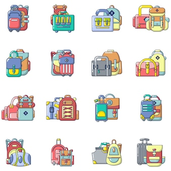 Travel bag icons set