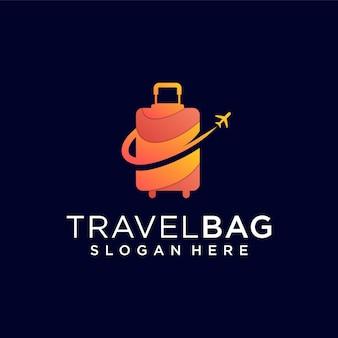 トラベルバッグのロゴデザインのインスピレーションテンプレート。ロゴは休暇のイベント、ビジネス、テクノロジー企業に使用できます
