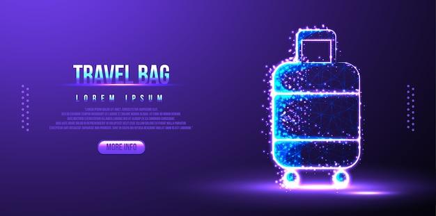 トラベルバッグ、低ポリワイヤーフレームのランディングページ