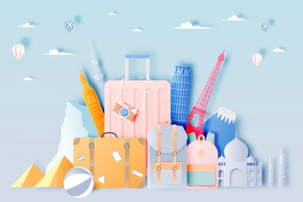 Travel bag and luggage in paper art style