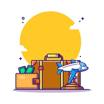 Travel bag and money   cartoon illustration. travel icon concept white isolated. flat cartoon style