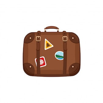Travel bag suitcase with stickers on isolated white