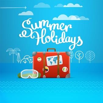 Дорожная сумка векторные иллюстрации. концепция летних каникул