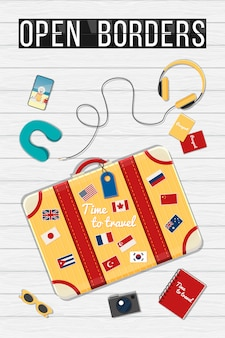 Travel bag with different travel elements illustration. open borders