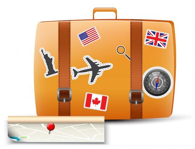 地図付き旅行鞄