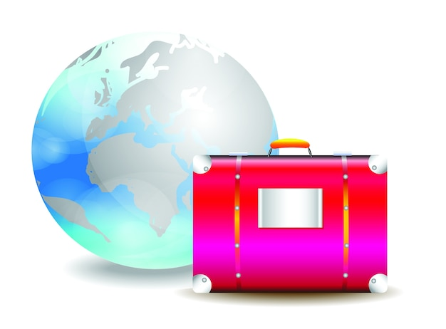 Travel bag and world vector