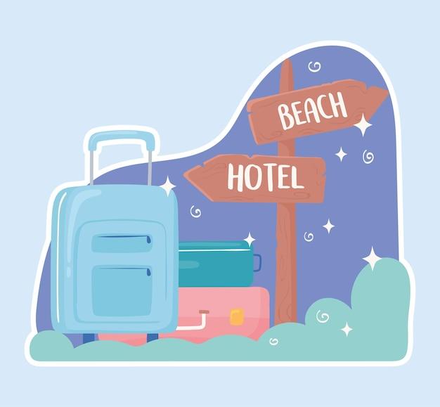 Travel baggage signpost