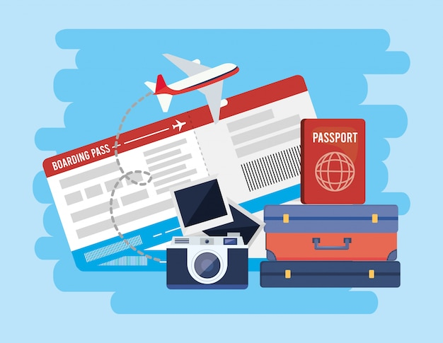 Travel baggage with passport and camera with picture