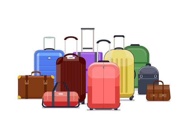 Дорожные сумки и цвет багажа. куча багажа для путешествия иллюстрации поездки